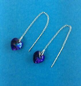 Sterling Silver 925 Swarovski Heliotrope 10mm Heart Pull Through earrings