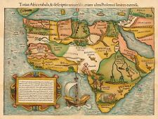 Map 1554 Munster Africa Map Picture Canvas Art Print