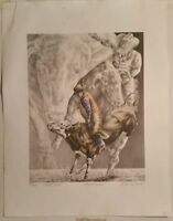 STILL WILD by Kelli S. Swan Signed Numbered Bull Riding Lithograph 1995 #183/200