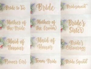 wedding iron on heat tshirt transfer bride bridesmaid party GOLD glitter vinyl