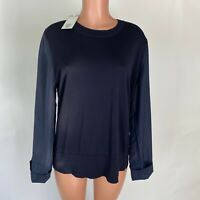 COS Womens Top Black Knit w/ Silk Sleeves Size L NEW $115