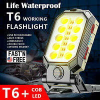 COB LED Work Light Magnetic Camping Lamp Flashlight with Hook USB Rechargeable