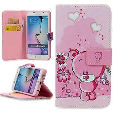 Flip Schutz Hülle Apple Samsung Cover Kartenfach Case Klapp Etui Motiv Bear Rosa