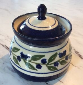 Covered Pottery Jar Handmade In Maine 1993 IKS Cobalt Blue Floral