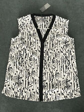 Katies: Size: 10. White with Black Print & Slim Vertical Trim, Small-Sleeve Top