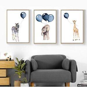Kawaii Animal Cartoon Posters Prints Kids Baby Room Decor Wall Art Painting SG