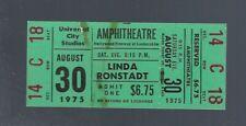 VINTAGE 1975 LINDA RONSTADT FULL UNUSED CONCERT TICKET @ UNIVERSAL AMPHITHEATRE