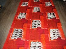 """Vintage 50s 60s abstract red orange """"Sparta"""" Francis Price large fabric length"""