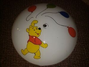 """Vintage Winnie the Pooh Glass Light Fixture Flushmount Cover Curved Convex 14.5"""""""