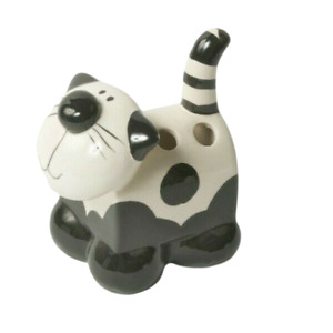 Cat Toothbrush Holder Novelty Pen Pencil Pot Desk Tidy Cermaic Cream & Black