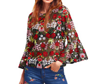 AU seller - All over floral embroidered flute sleeve mesh blouse top