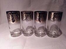 4 1960's Dorthy Thorpe Silver Overlay Ombre Ornate Design Highball Glasses