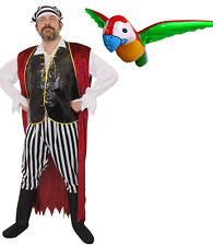 MENS PIRATE COSTUME ADULT FANCY DRESS CARIBBEAN BUCCANEER OUTFIT WITH PARROT