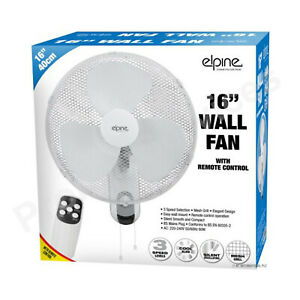 "16"" WALL MOUNTED FAN WITH REMOTE 3 SPEED AIR COOL TIMER OSCILLATING MESH GRILL"