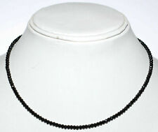 "Black Spinel 3.5mm Round Cut Beads 925 Sterling Silver 16"" Strand Necklace YG411"