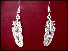 INDIAN FEATHER 28x10 EARRINGS - Antique Tibetan Silver - Hypo-allergenic hooks