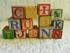 Vintage Children's Wood Alphabet Blocks