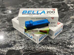 Cigarette Filter Tubes Bella King Size 15mm 3x200 (600 tubes) + Free Injector
