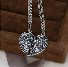 1Pair Heart Pendant  Necklace Big Sister Jewelry Initial Splited Little Sister