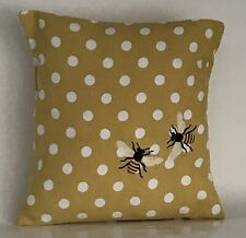"""Bee Embroidered Polka Dot Cushion Cover 12""""x12"""" **Last One**"""