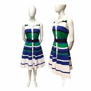 Karen Millen New Blue Green Strip Belt Shirt Dress NWT UK 12