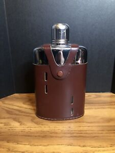 Griffon Vintage Glass Flask w/ Leather Case Made in USA