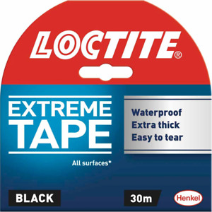 Loctite Extreme Tape Black 30M Waterproof, Extra Thick Strong Tape, Easy to Tear