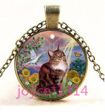 Vintage Flower Cat Cabochon bronze Glass Chain Pendant Necklace TS-6171