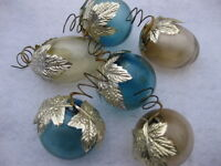 Six Vintage Christmas Ornaments 3 Blue & 3 Clear with Curly Hooks & Foil