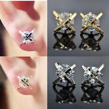 1Pair Shiny Zircon Cross Alloy Gold Silver Ear Studs Earrings Jewellery Gift