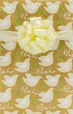 """Christian Gift Wrap 24"""" x 15' Roll Christmas Wrapping Paper Gold Peace Dove"""