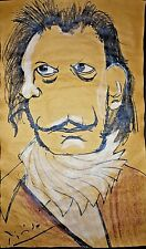 Pablo Picasso Salvador Dali Portrait Watercolor Drawing Painting. Signed.