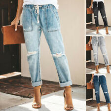Womens Ripped Jeans Casual Street Style Straight Trousers Drawstring Loose Pants