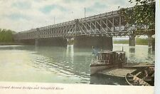 Vintage Postcard Grand avenue Bridge and Schuykill River PA and River Boat