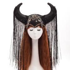 Ox Horn Hat Halloween Cosplay Headwear Funny Hat Gothic Show Girl Headdress