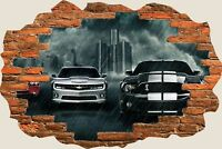 3D Hole in Wall Muscle Cars View Wall Stickers Film Decal Wallpaper Mural 818