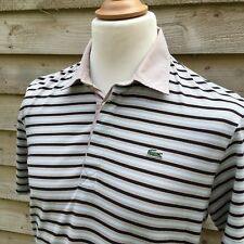 Lacoste Casual Slim Fit Striped Retro Polo T-Shirt Beige/Blue XL