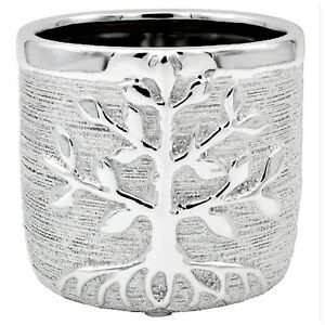 Silver Tree Of Life Ceramic Indoor Flower Kitchen Herb Plant Pot Medium Planter