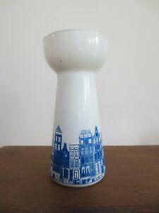 VINTAGE Hyacinth Bulb Glass Vase Forcing Milk Glass Blue Design Indoor Growing