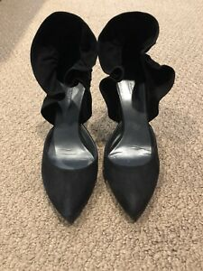 La Fenice Black Suede Ruffle Ruched Bow Heels- Size 8.5
