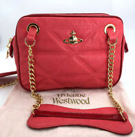 Vivianne Westwood Authentic Vintage Quilted Pink Red Leather Shoulder Chain Bag