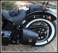 Sacoche de coté en Cuir Tête de Mort / SKULL Harley Softail Fatboy breakout VN