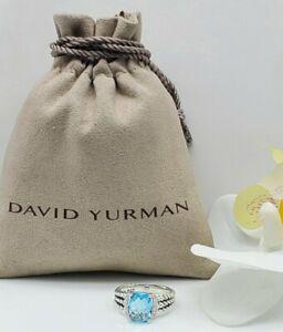 David Yurman  Petite Wheaton W/ Blue Topaz & Diamonds ring Sz 6.5