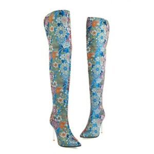 Women's Pointed Toe Zip Winter Embroidery Slim High Heels Over Knee High Boots