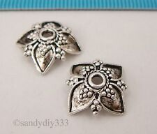 2x BALI OXIDIZED STERLING SILVER FLOWER BEAD CAP SPACER 12mm #241