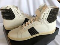 Yves Saint Laurent Men's high top leather studded athletic shoes sneakers