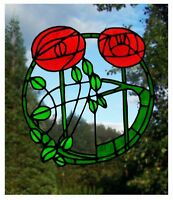 Mackintosh Rose Stained Glass Effect Window Decor Cling