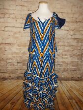 Blue Orange Traditional Ethnic Clothing Women Suit African 2 PC Suit Skirt Set