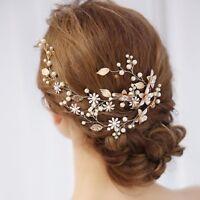Wedding Hair Comb Pin Ornaments Elegant Flower Leaves Decor Bride Clip Headdress