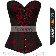 Steel Boned Long Torso Overbust Bustier Back Lacing Black Red Brocade Corset